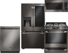 LG Studio Black Stainless Steel Kitchen Package with 36 Inch French Door Refrigerator, 30 Inch Slide-In Gas Range, 30 Inch Over-The-Range Microwave and 24 Inch Dishwasher Glass Pantry Door, Pantry Doors, Glass Doors, Built In Dishwasher, Mini Kitchen, Smart Kitchen, Kitchen Island, Kitchen Equipment, Stainless Steel Kitchen
