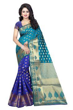 Rama & Blue Color South Indian Banarasi Cotton Silk Fanncy Saree - ClickOnBazar    #banarasisilksaree #puttusilkssaree #designersaree #clickonbazaarsaree #banarasbazaar #sareebazaar #silksaree #silksareedesign #partywearsaree #weddingsaree #sareeonline #silksareeonline #jaquardwork #clickonbazaar #madeinindia #makeinindia