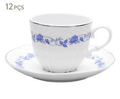 Conjunto de xícaras para café com pires vanna blumen platina | Westwing - Casa & Decoração