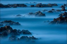 Long-exposure shot of the Pacific Grove coastline in California after sunset, by Kati Mai Seiffer