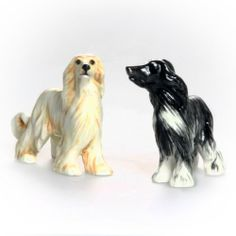 Afghan Hound Hand Crafted Salt & Pepper Shakers - Brown & Black by Blue Witch. $34.95. Porcelain. Hand Painted. Afghan Hound Hand Crafted Salt & Pepper Shakers - Brown & Black