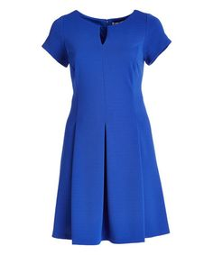 Another great find on #zulily! Cobalt Cap-Sleeve Fit & Flare Dress - Plus #zulilyfinds