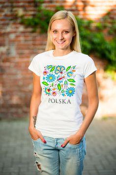 Folk koszulka, koszulka folkowa, koszulka ludowa, wzór kaszubski, kaszuby, folklor