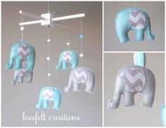 Baby  mobile - Custom Baby Mobile - Elephant Mobile - You can PICK ur COLORS and FABRIC :) by LoveFeltXoXo on Etsy https://www.etsy.com/listing/169397936/baby-mobile-custom-baby-mobile-elephant