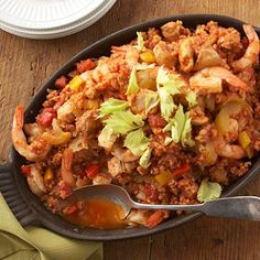 Chicken & Shrimp Jambalaya - Dinner January 23rd, nice and spicy but not too hot.  Perfect for a colder evening and almost ready when you get home from work!