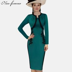 Appliques Patchwork Fitted Full Sleeve Business Turquoise Pencil Dress $62.38   => Save up to 60% and Free Shipping => Order Now! #fashion #woman #shop #diy  http://www.yiclothes.net/product/nice-forever-elegant-vintage-gorgeous-sheath-dress-appliques-patchwork-fitted-full-sleeve-business-turquoise-pencil-dress-b247/