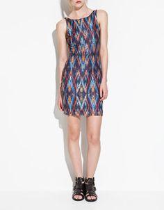 dark geographic print    tube dress--$59.90--zara