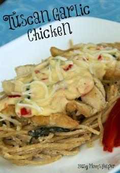 Copy-Cat Tuscan Garlic Chicken Pasta / by Busy Mom's Helper #pasta #olivegarden