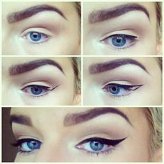 1. Start at the inner corner of your eyelid, using small strokes & the lash line as a guide, draw your liner almost to the end.  2. From the outer corner draw upwards towards the end of the brow to desired wing length.   3. Connect the point of the wing back to the lash line.  4. Fill in the outline. Ta-dah perfect classic winged liner! :)       ALL CREDIT GOES TO SUSIE M. #smallwingedliner #wingedlinereasy