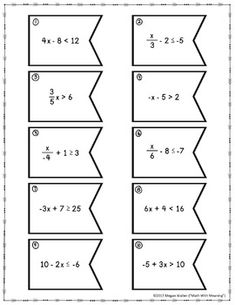 One-Step Equations (With Integers) Matching Activity