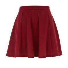 dark red ponti skater skirt - mini skirts - skirts - women - River Island