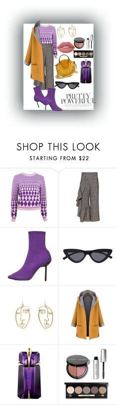 """Pretty Powerful 💜💛🔝🔝"" by karebelove ❤ liked on Polyvore featuring Versace, Rachel Comey, MANGO, WithChic, Thierry Mugler, Bobbi Brown Cosmetics and Lime Crime"