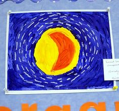 Kindergarten Van Gogh inspired painted moons from the painting Starry Night.