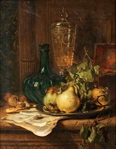 Seeking Beauty - Maria Vos (Dutch, Still life with glass, green bottle and pears - Dutch Still Life, Still Life Art, Italian Paintings, Pyrus, Still Life Oil Painting, Dutch Painters, Dutch Artists, Fruit Art, Still Life Photography