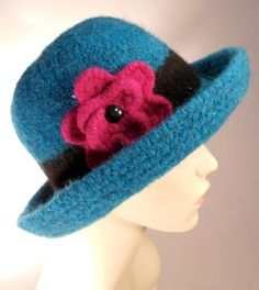 Ocean Blue Felted Hat with Brim by yoursbydesign on Etsy, $69.00