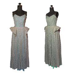 Vintage 1940s Dress Sea Foam Cream Lace by dejavintageboutique