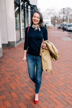 Everyday Chic - Carly the Prepster - preppy outfit You are in the right place about boho outfits Here we offer you the most beautiful pi - Red Shoes Outfit, Outfit Chic, Outfit With Scarf, Outfits With Red Shoes, Preppy Work Outfit, Navy Pants Outfit, Scarf Outfit Summer, Dress Pants, Booties Outfit