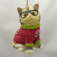 Main Coon Cat In Glasses Christmas Sweater Ornament Stocking Stuffer Gift Cat Christmas Ornaments, Christmas Cats, Christmas Sweaters, Maine Coon Cats, Cat Tree, Stocking Stuffers, Kittens, Owl, Stockings