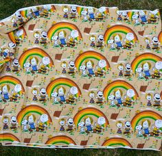 Peanuts fabric featuring sad Charlie Brown flying a kite and