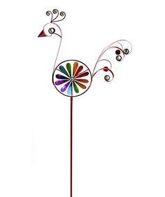 Red Filigree Bird Spinner Garden Stake by Exhart #zulily #zulilyfinds