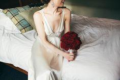 Deep red rose wedding bouquet - beautiful winter wedding flowers suggestion.  http://www.candysnaps.co.uk