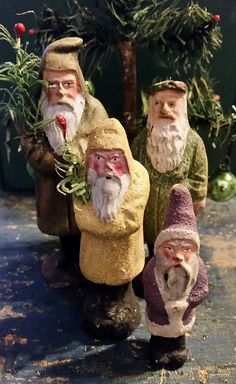 Lovely collection of small and rare Belsnickle figures Antique Christmas, Christmas Past, Father Christmas, Christmas Items, Christmas Holidays, Christmas Decorations, Christmas Ornaments, Vintage Santa Claus, Vintage Santas