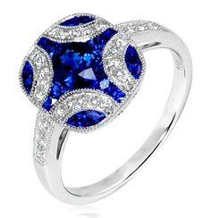 Sapphire and diamond ring, #Jewelry