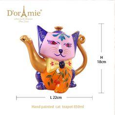 Ceramic lucky hand painted porcelain cat shape teapot Painted Porcelain, Hand Painted, Tea Sets, Cookie Jars, Teapot, Shapes, Ceramics, Mugs, Tableware