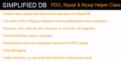 Simplified DB - PDO, Mysqli, Mysql Helper Class (Database Abstractions)