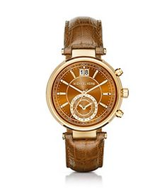 Preferiblemente tono Burgundy, pero no se muestra en la página web. Sawyer Gold-Tone and Embossed-Leather Watch by Michael Kors