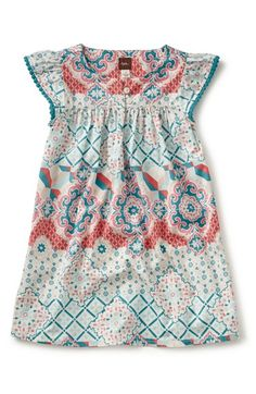 'La Grotta dello Smeraldo' Mixed Print Dress (Toddler Girls, Little Girls & Big…