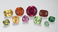 A collection of different colored garnets.  love.