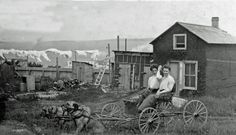 A photograph of two women sitting in a cart pulled by two dogs. Two Dogs, View Image, Cobalt, Ontario, Photograph, Adventure, Women, Photography, Photographs