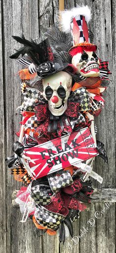 Freak Show Wreath Freak Show Decor Skull Wreath Skull