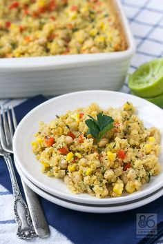 """Thank you at @86 Lemons for featuring my """"Corn Chowder Quinoa Casserole"""" - photos are just GORGEOUS!"""