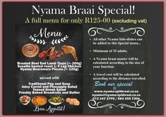 Nyama Spitbraai is a catering company. Nyama Spitbraai specializes in South African Flavoured Pig Roasts , Lambs on the Spit , Braai's and General Outside Catering. Outside Catering, Pig Roast, Catering Companies, Lamb, Side Dishes, Menu, Menu Board Design, Pork Roast, Baby Lamb