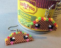Emoji poop mini Perler Bead earrings hama beads by PerlerTricks