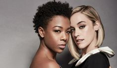 OITNB's Samira Wiley Shares Her Love Story with Lauren Morelli Engaged couple Samira Wiley and Lauren Morelli met on the set of Orange Is the New Black back in December 2012 and they're opening up about their love story in… Orange Is The New Black, Back To Black, Samira Wiley, The L Word, Girl Couple, Famous Faces, Engagement Couple, Love Story, Lgbt