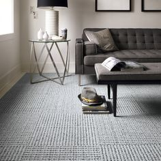 FLOR carpet tiles-love this chunky gray pattern for boys' room - Home Decorating DIY Living Room Carpet, Living Room Grey, Home Living Room, Living Room Decor, Living Spaces, Grey Room, Bedroom Carpet, Dining Room, Carpet Tiles