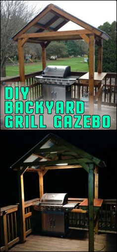 your own backyard grill gazebo! Does your backyard need a grill gazebo? Be inspired to build it yourself by heading over to our site!Does your backyard need a grill gazebo? Be inspired to build it yourself by heading over to our site! Outdoor Kitchen Patio, Outdoor Pergola, Outdoor Kitchen Design, Modern Pergola, Pergola Ideas, Patio Ideas, Backyard Ideas, Outdoor Sinks, Pergola Decorations