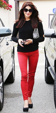 Ashley Greene in red jeans