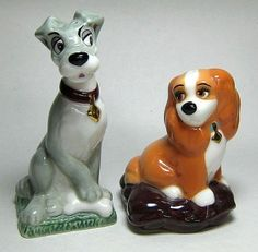 "Lady and the Tramp salt and pepper shaker set (Cardew) Price: US$ 50.00 Product Size: Tramp: 4.5"" tall Lady: 3.25"" Tall"