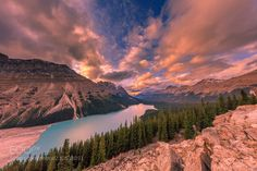 Sunset at Peyto Lake (James Bian) Canada, Forest Mountain, Seen, Landscape Wallpaper, Cool Landscapes, Photos Of The Week, Landscape Photography, Travel Photography, Naturaleza
