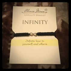 "Olivia Moss Infinity Bracelet  A black wrapped pull cord bracelet adorned with a gold infinity symbol in the center. Wear it for the ""Infinite love to yourself and others ""... ❤️ Olivia Moss Jewelry Bracelets"