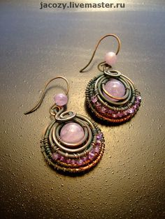 Earrings handmade.  Fair Masters - handmade copper earrings Lavender.  Handmade.