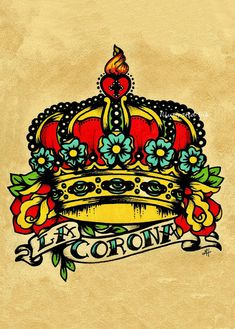 Old School Tattoo Krone Kunst LA CORONA Loteria von illustratedink