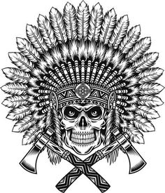Native American skull tattoo design