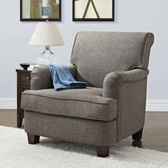 Better Homes and Gardens Grayson Rolled Top Club Chair with Nailheads, Multiple Colors - Walmart.com
