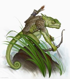 Chameleon scout by firatsolhan lizardman fighter archer ranger bow arrows monster creature beast animal Fantasy Races, Fantasy Rpg, Fantasy World, Character Portraits, Character Art, Character Design, Creature Feature, Creature Design, Dungeons And Dragons
