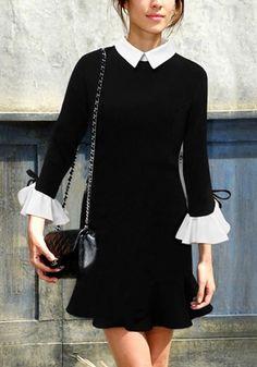 Black Vintage-Inspired Mini Dress